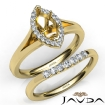 Marquise Diamond U Prong Engagement Semi Mount Ring Bridal Set 14k Yellow Gold 0.4Ct - javda.com