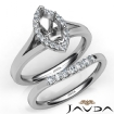 Marquise Diamond U Prong Engagement Semi Mount Ring Bridal Set 14k White Gold 0.4Ct - javda.com