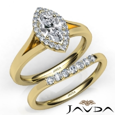 Split-Shank Bridal Set Halo Marquise diamond engagement Ring in 14k Gold Yellow