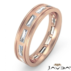 Bezel Set baguette Men's Diamond Eternity Wedding Band 18k Rose Gold (2.2Ct. tw.)