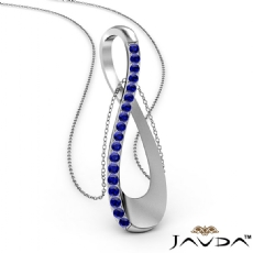 0.26Ct Round Sapphire Infinity Pendant Necklace 18 Inch Chain 14k White Gold