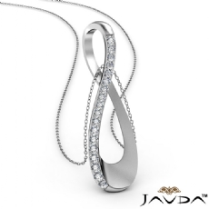 0.26Ct Round Diamond Infinity Pendant Necklace 18 Inch Chain 14k White Gold