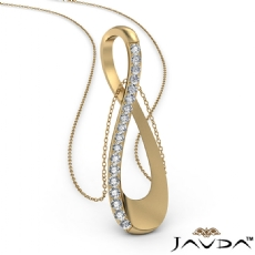 Round Diamond Infinity Pendant Necklace 18 Inch Chain 14k Gold Yellow (0.26Ct. tw.)