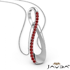 <Dcarat> Round Ruby Infinity Pendant Necklace 18 Inch Chain 18k Gold White