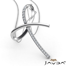 Simple Bow Pendant Necklace 18 Inch Chain 14k White Gold 0.32Ct Round Diamond