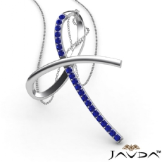 Simple Bow Pendant Necklace 18 Inch Chain 14k White Gold 0.32Ct Round Sapphire