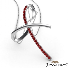Simple Bow Pendant Necklace 18 Inch Chain 14k White Gold 0.32Ct Round Ruby