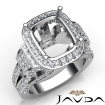 Cushion Diamond Setting Antique & Vintage Engagement Semi Mount Ring 14k White Gold 2.65Ct - javda.com