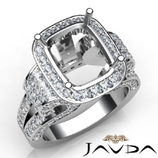 Radiant Diamond Setting Antique & Vintage Engagement Semi Mount Ring 14K White Gold 2.65ct.