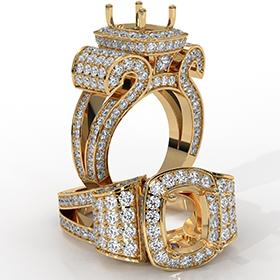 Radiant Diamond Setting Antique & Vintage Engagement Semi Mount Ring 18k Gold Yellow  (2.65Ct. tw.)