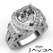 Heart Shape Diamond Engagement Ring Vintage Halo Setting 14k White Gold Semi Mount 2.65Ct - javda.com