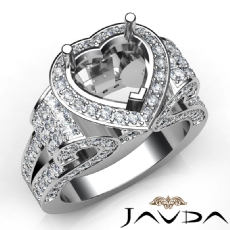 Heart Shape Diamond Engagement Ring Vintage Halo Setting 14K White Gold Semi Mount 2.65Ct