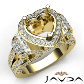 Heart Shape Diamond Engagement Ring Vintage Halo Setting 18k Gold Yellow Semi Mount  (2.65Ct. tw.)