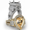 Diamond Engagement Ring Antique & Vintage Pear Semi Mount Halo Setting 14k White Gold 2.4Ct - javda.com