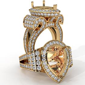 Diamond Engagement Ring Antique & Vintage Pear Semi Mount Halo Setting 18k Gold Yellow  (2.4Ct. tw.)