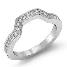 Round Pave Diamond Womens Half Wedding Matching Band 14k White Gold Ring 0.70Ct