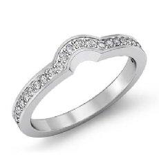 0.35Ct Pave Diamond Wedding Band Matching Set 14k White Gold