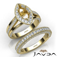 Pave Diamond Engagement Ring Bridal Sets 14k Gold Yellow Marquise Semi Mount  (1.7Ct. tw.)