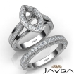Pave Diamond Engagement Ring Bridal Sets 14k White Gold Marquise Semi Mount 1.7Ct - javda.com