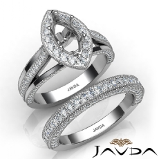 Pave Diamond Engagement Ring Bridal Sets 14K W Gold Marquise Semi Mount 1.70Ct.