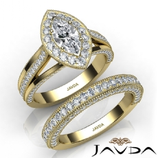 Trio Band Halo Pave Bridal Set Marquise diamond  Ring in 14k Gold Yellow