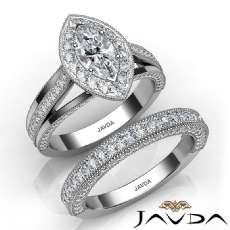 Halo Bridal Set Milgrain Marquise diamond engagement Ring in 14k Gold White