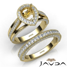 Pave Diamond Engagement Ring Bridal Sets 14k Gold Yellow Pear Semi Mount  (1.7Ct. tw.)
