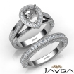 Pave Diamond Engagement Ring Bridal Sets 14k White Gold Pear Semi Mount 1.7Ct - javda.com