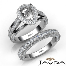 Pave Diamond Engagement Ring Bridal Sets 14K White Gold Pear Semi Mount 1.70Ct.