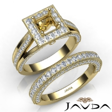 Pave Diamond Engagement Ring Bridal Sets 14k Gold Yellow Princess Semi Mount  (1.7Ct. tw.)