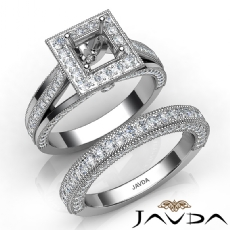 Pave Diamond Engagement Ring Bridal Sets 14K W Gold Princess Semi Mount 1.70Ct.