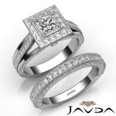 Milgrain Halo Bridal Set Pave Princess diamond engagement Ring in 14k Gold White