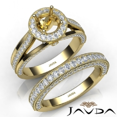 Pave Diamond Engagement Ring Round Semi Mount Bridal Sets 14k Gold Yellow  (1.7Ct. tw.)