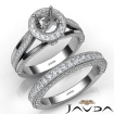 Pave Diamond Engagement Ring Round Semi Mount Bridal Sets 14k White Gold 1.7Ct - javda.com
