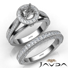 Pave Diamond Engagement Ring Round Semi Mount Bridal Sets 14K White Gold 1.70Ct.
