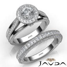 Milgrain Edge Bridal Set Halo Round diamond engagement Ring in 14k Gold White