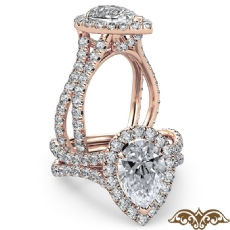 Cathedral Halo French Pave Pear diamond  Ring in 18k Rose Gold