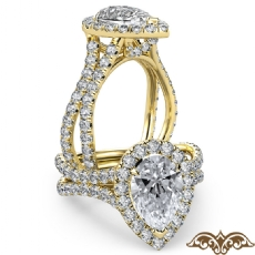 Cathedral Halo French Pave Pear diamond  Ring in 18k Gold Yellow