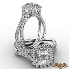 Cathedral Halo French Pave Asscher diamond  Ring in 14k Gold White