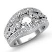 Diamond Engagement Round Cut Ring 14k White Gold Halo Setting Semi Mount 0.75Ct - javda.com