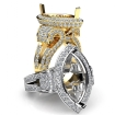 Marquise Diamond Engagement Ring 14k White Gold Vintage Halo Setting Semi Mount 2.75Ct - javda.com