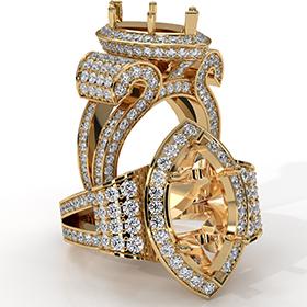 Marquise Diamond Engagement Ring 18k Gold Yellow Vintage Halo Setting Semi Mount  (2.75Ct. tw.)