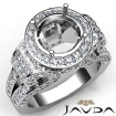 Round Diamond Engagement Ring Antique & Vintage Halo Pave Semi Mount 14k White Gold 2.7Ct - javda.com