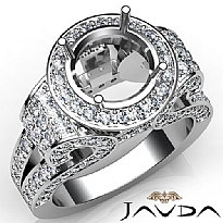 Round Diamond Engagement Ring Vintage Halo Pave Semi Mount 14k White Gold 2.7Ct