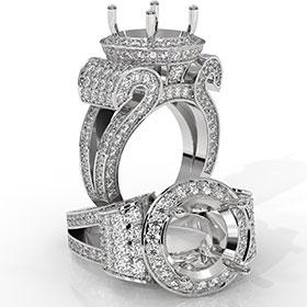 Round Diamond Engagement Ring Vintage Halo Pave Semi Mount 14K White Gold 2.7ct.
