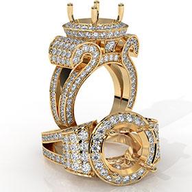 Round Diamond Engagement Ring Antique & Vintage Halo Pave Semi Mount 18k Gold Yellow  (2.7Ct. tw.)