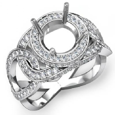 Halo Pave Setting Diamond Engagement Round Semi Mount Ring 14K White Gold 1.3Ct