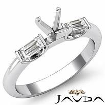 Baguette Round Diamond Three 3 Stone Engagement Ring Platinum 950 SemiMount  (0.3Ct. tw.)