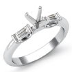Baguette Round Diamond Three 3 Stone Engagement Ring 14k White Gold SemiMount 0.3Ct - javda.com