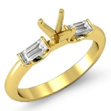 Baguette Round Diamond Three 3 Stone Engagement Ring 18k Gold Yellow SemiMount  (0.3Ct. tw.)